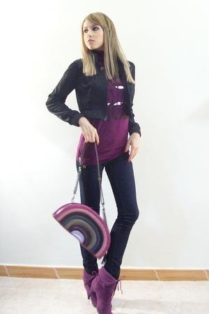 purple Bershka t-shirt - black Zara Trf jeans - purple Beerklees boots - pink Za