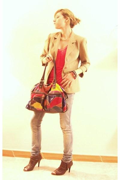 red Zara Collection blouse - yellow Divecco blazer - blue Zara Woman jeans - bro