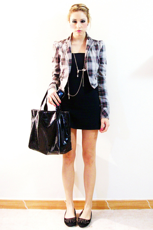 silver Zara blazer - black Zara dress