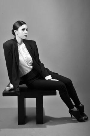 white Massimo Dutti vest - black HB suit - black Zara heels