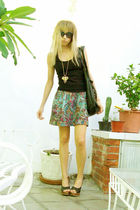 blue Final Touch skirt - black Zara top - gold pull&bear accessories - black pul