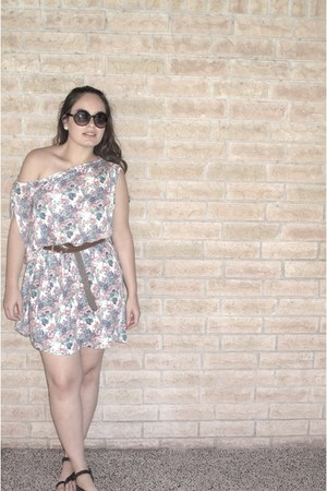 cream Zara dress - dark brown Target sandals - black free people glasses