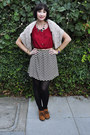 Burnt-orange-qupid-boots-ruby-red-chevron-millibon-dress