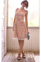 florallace thrifted floral dress dress - from italy envelope clutch bag - Pink v