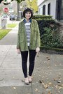Green-trench-coat-cotton-candy-jacket-white-striped-merona-sweater