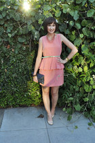 salmon everly dress - navy clutch Heart Boutique bag - coral Forever 21 necklace