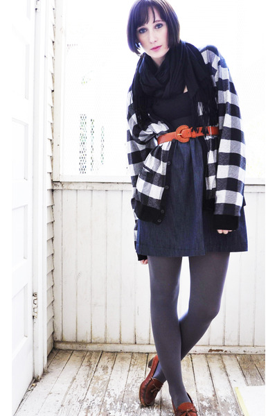denim thrifted dress - Target tights - black scarf - burnt orange vintage belt -