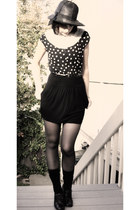 Vintage hat hat - Urban Outfitters skirt - lace Lindsay Rickman Polka dot blouse