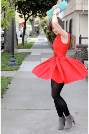red BB Dakota dress - heather gray suede booties ASH boots