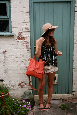 Fossil bag - Bershka hat - River Island shorts - H&M top - Matalan sandals