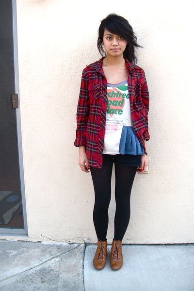 Urban Renewal top - f21 flannel top - BDG shorts - Target tights - UO shoes
