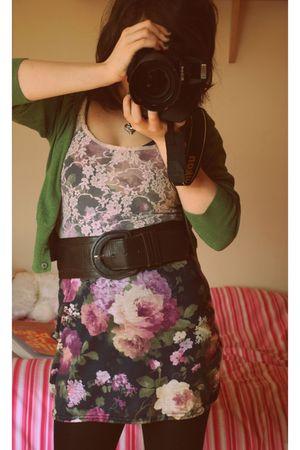green Primark cardigan - pink new look vest - green Republic dress - brown Prima