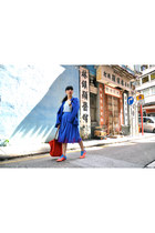 blue Taobao blazer - carrot orange longchamp bag - blue Mei Chi skirt