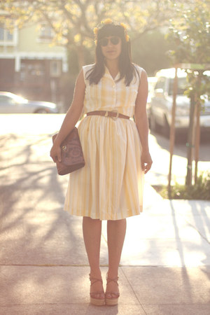light yellow vintage dress - brown vintage bag - brown vintage belt