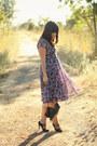 Purple-vintage-dress-black-coach-bag-black-thrift-heels-black-vintage-belt