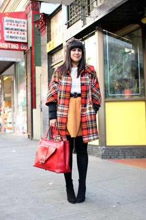 ruby red vintage jacket - black H&M boots - black American Apparel tights