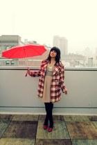 beige American Apparel dress - ruby red vintage coat - black American Apparel sh