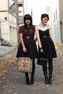 Black-vintage-skirt-crimson-vintage-blouse-beige-vintage-bag-black-h-m-dre