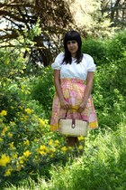 pink Hummingbird Girls Vintage dress - tan vintage bag - brown vintage heels