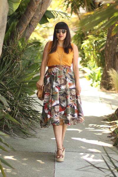 camel vintage skirt - mustard thrifted shirt - tawny vintage belt