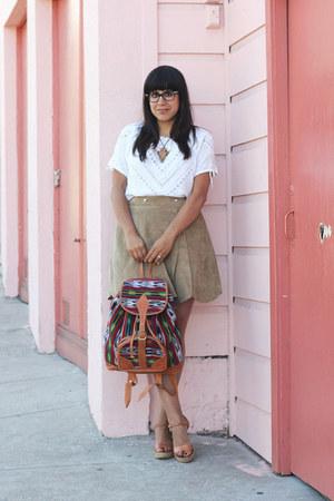 tan vintage skirt - red guatemalan bag - white vintage blouse