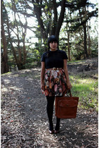 brown Taxi CDC skirt - black American Apparel tights - dark brown vintage bag