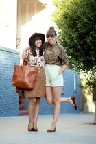 brown vintage bag - off white vintage shirt - brown thrift heels