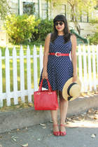 navy vintage dress - cream vintage hat - red vintage bag - red vintage sandals