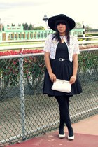 black thirfted dress - black Sonni of California hat - black American Apparel ti
