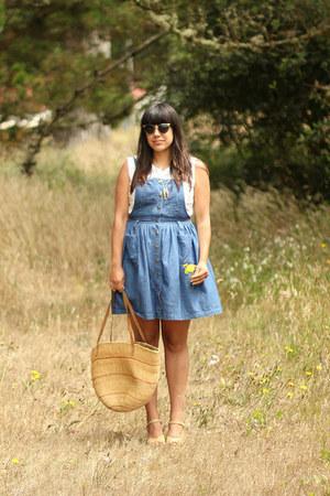 blue vintage dress - eggshell vintage bag - white vintage blouse