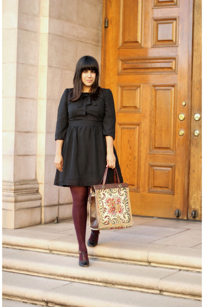 black Tulle dress - maroon the gap tights - eggshell vintage bag