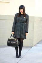 forest green vintage dress - black vintage bag - black vintage heels