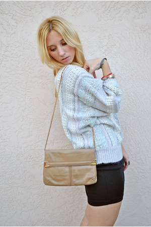 periwinkle knitted vintage sweater - camel gold detail vintage purse