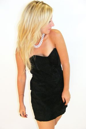 black vintage dress - white vintage necklace