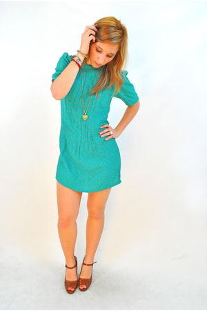 blue vintage dress - brown mary janes shoes