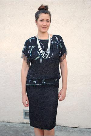 black beaded evening vintage dress