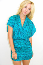 Turquoise-blue-mini-wrap-vintage-dress