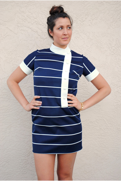 navy 60s mod vintage dress