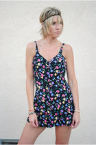black mini sun dress vintage dress