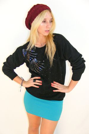 black vintage sweater - blue H&M skirt - red beanie hat