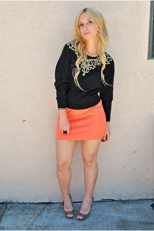 black vintage sweater - orange H&M skirt - gray Steve Madden shoes