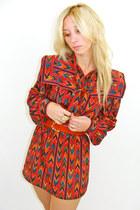 Ruby-red-70s-ikat-vintage-dress