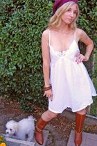 white vintage dress - brown vintage boots - red knitted beanie accessories