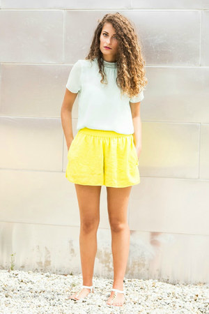 yellow yellow Zara shorts - aquamarine Zara blouse
