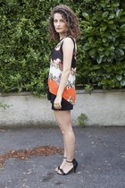 carrot orange PERSUNMALL blouse - black H&M shorts - black She Likes sandals