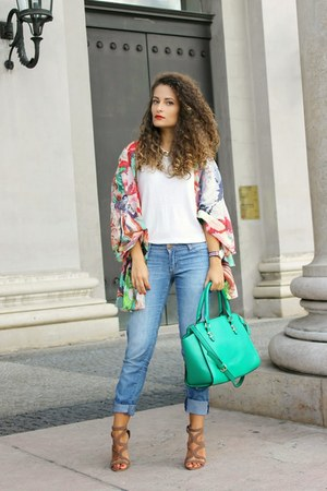 green floral Front Row Shop scarf - sky blue Tally Weijl jeans