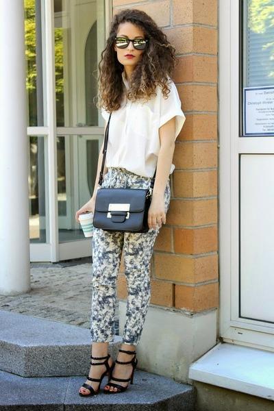 black Forever 21 bag - white Mango shirt - heather gray floral Sheinside pants
