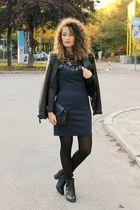 H&M boots - sequined Little Mistress dress - studded Alcott jacket - Bershka bag