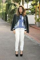 blue aupie shirt - ivory Jennifer jeans - black studded Alcott jacket