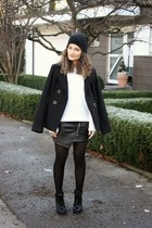 black Chicwish boots - black Terranova coat - white Pimkie sweater